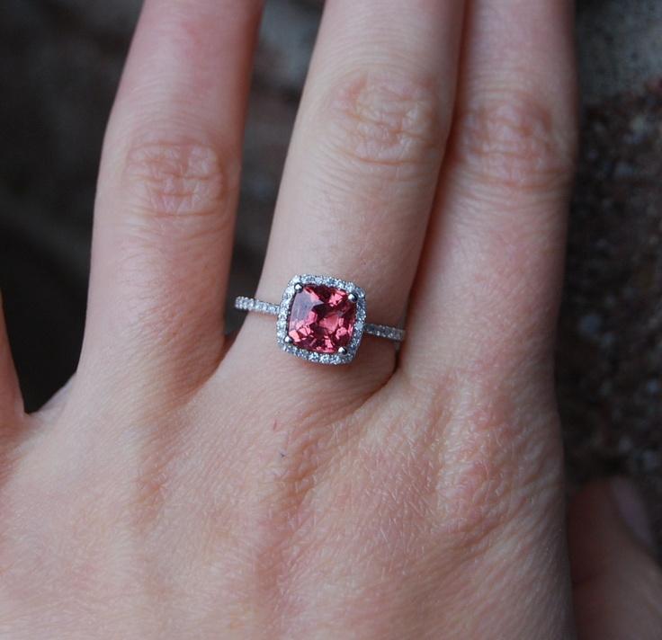 1.9ct Square Cushion Padparadscha Sapphire Platinum 900 diamond ring Engagement Ring. $3,500.00, via Etsy.