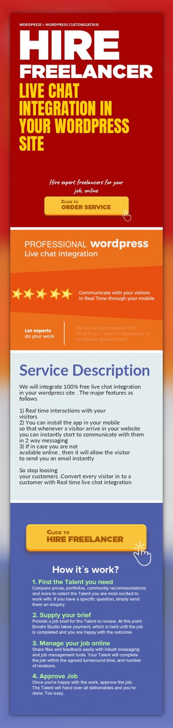 Live Chat Integration in your wordpress site WordPress, WordPress Customization   We will integrate 100% free live chat integration in your wordpress site . The major features as follows    1) Real time interactions with your visitors  2) You can install the app in your mobile so that whenever a visitor arrive in your website you can instantly start to communicate with them in 2 way messaging   3)...