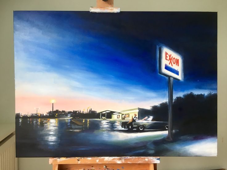 """My painting""""Jungleland"""". Oil on canvas, 70 x 50 cm. It's part of my Heartland Visions: The Springsteen Art Project.  Price: 10000 Dkr / €1400 / £1200 / $1500. Signed print: 500 Dkr / € 80 / £ 70 / $ 90  """"Barefoot girl sitting on the hood of a Dodge  drinking warm beer in the soft summer rain... ...They'll meet 'neath that giant Exxon sign  That brings this fair city light"""" In the distance, we see the gas fires of the refinery, out by Breaker's Point. Sitting l"""