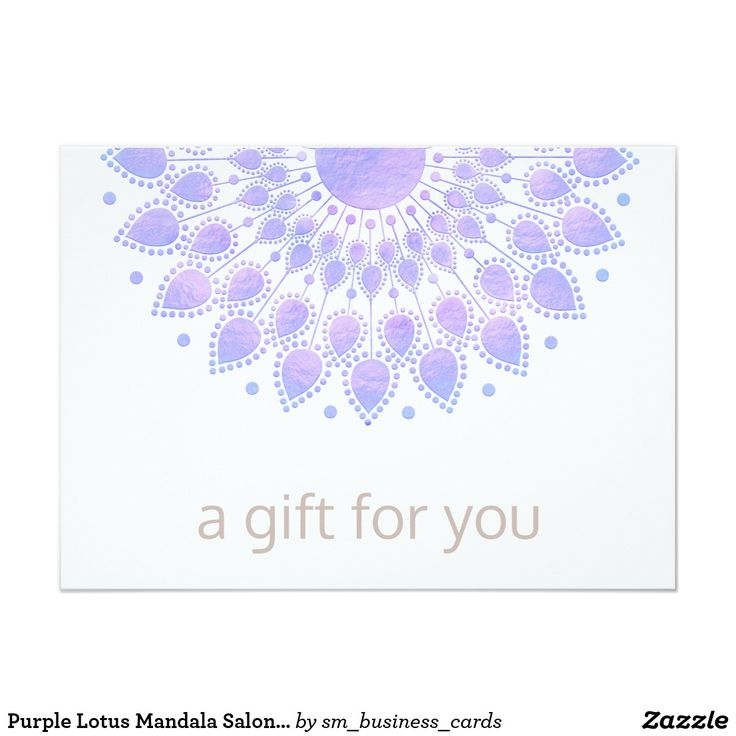 764 best fashion and beauty stylist business cards images on pinterest purple lotus mandala salon spa gift certificate card reheart Image collections