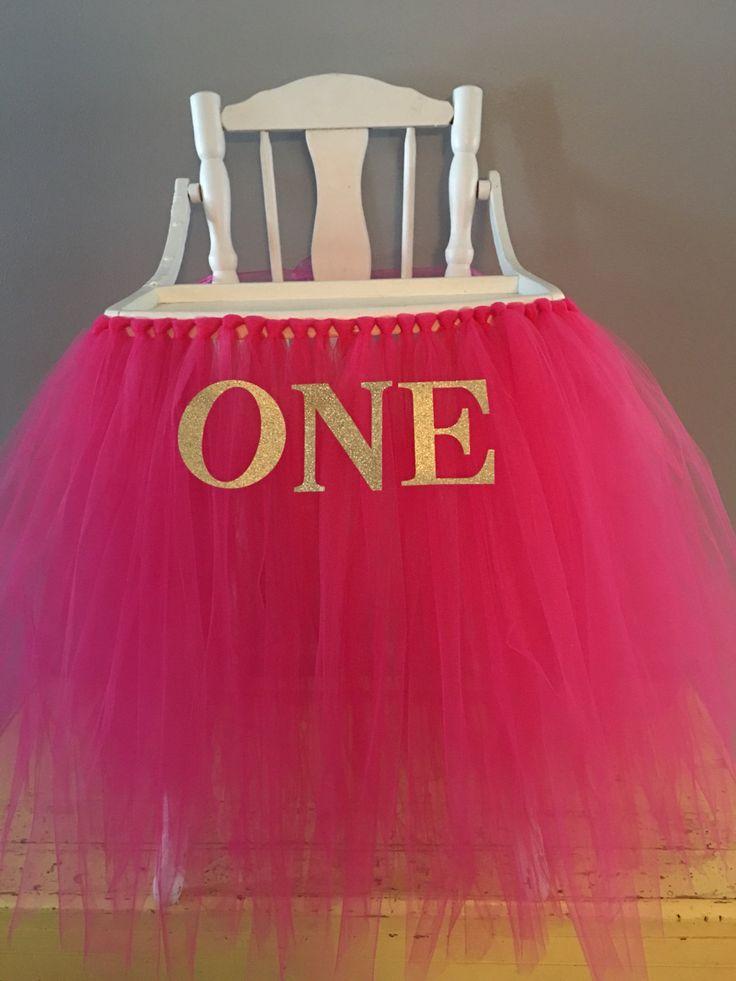 Fuchsia Highchair Banner- Pink Highchair Skirt- High chair Tutu- by AvaryMaeInspirations on Etsy