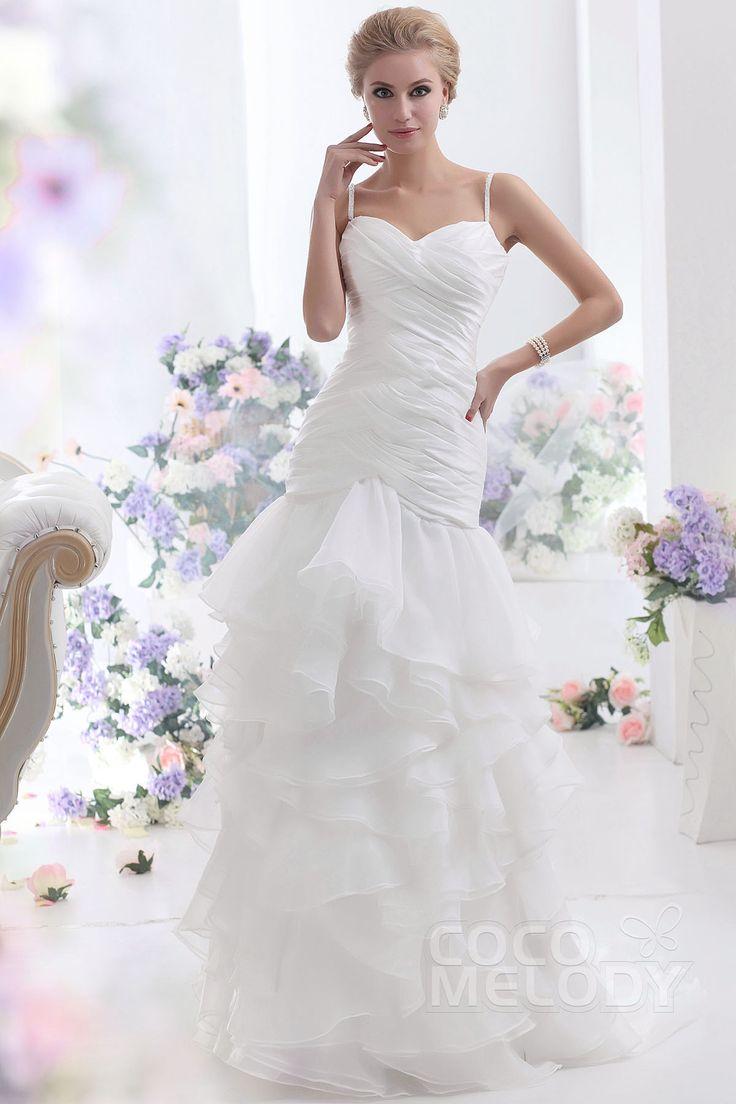 魅力的 マーメイド ストラップ ローウエスト スイープ トレーン オーガンジーウェディングドレス CWLF13003