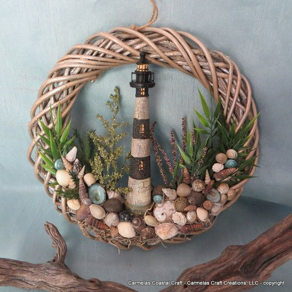 Light House sea shell wreath by CarmelasCoastalCraft on Etsy, $35.00