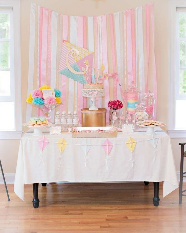 Beautiful dessert table at a kites birthday party! See more party ideas at CatchMyParty.com!