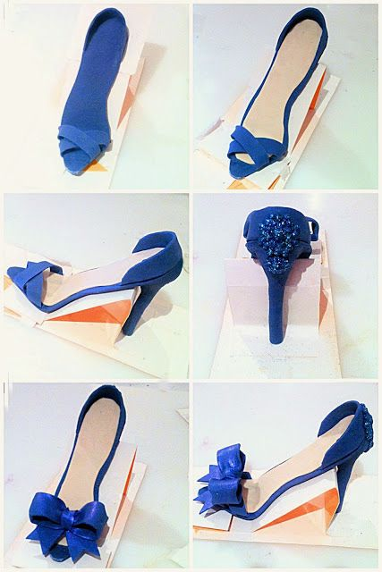 Blue High Heel Shoe with Bow and Jewel Cake