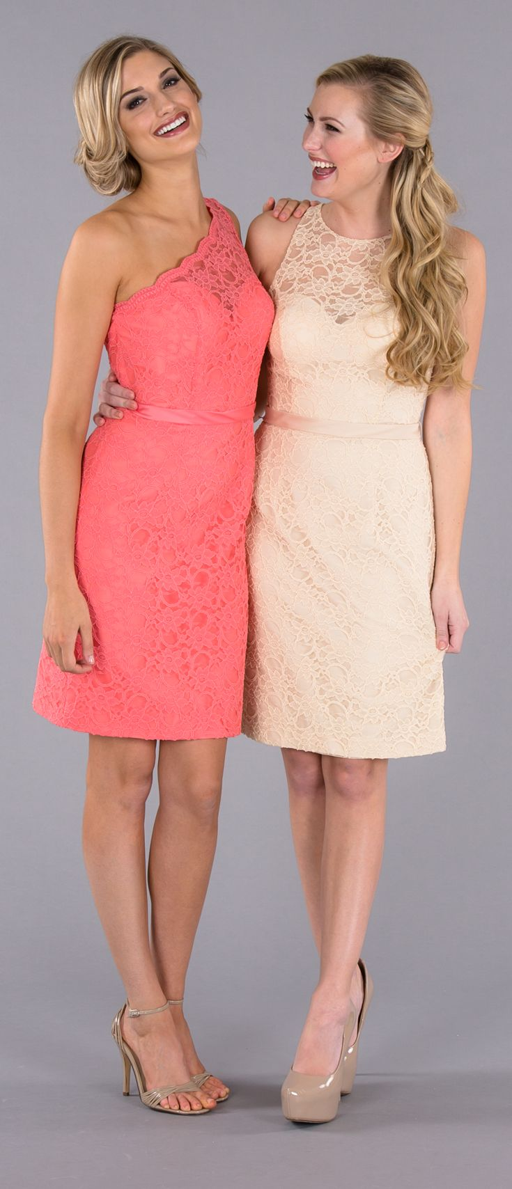Short lace bridesmaid dresses that are perfect for a mix and match look! Check out our one-shoulder style, high-neck style, and more!   Featured colors: Coral & Champagne