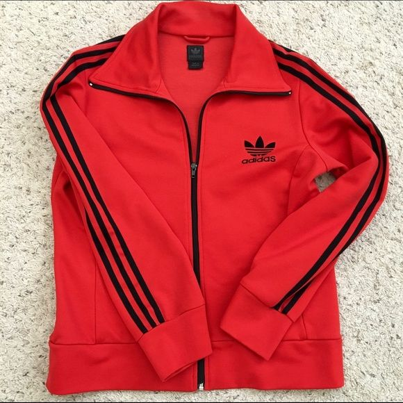 ADIDAS TRACK JACKET Gently used. Still in excellent condition. Beautiful red color ❤️ WOMENS SIZE LARGE Adidas Jackets & Coats