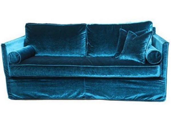 Blå sammetsoffa Gasellen Soffa, sammet, sammetstyg, sammetsmöbler, avtagbar klädsel, vardags