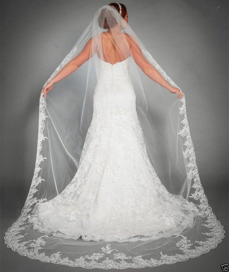 """Item Type: Bridal Veils Veils Layers: One-Layer Veils Edge Style: Lace Edge Material: Polyester Color: White/Ivory Length: 98.5"""" - Processing time vary - Once shipped,can take 35 – 43 days - Some excl"""