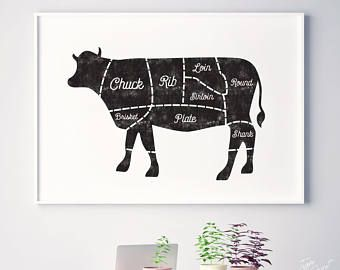 Cow, rustic kitchen art decor, kitchen printable, kitchen prints, kitchen decor, butcher chart, beef, meat cuts, butcher print