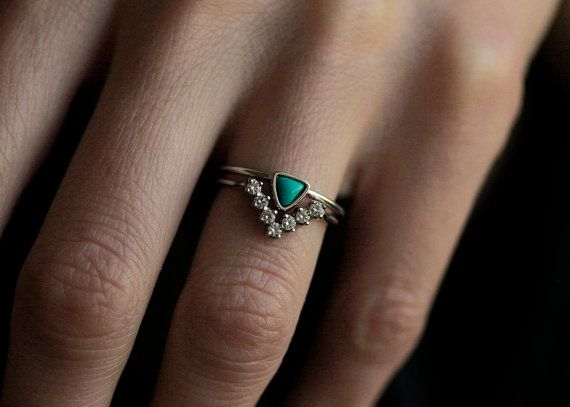 Wedding Set Turquoise Ring with Curved Diamond Band by capucinne