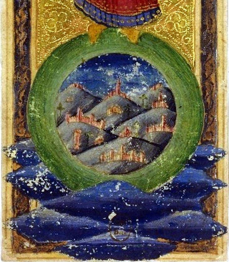 L'iconographie du Monde est difficile à interpréter. Au centre de la sphère représentant sans doute la Terre, aux sommets de monts se dressent des architectures de villes fortifiées. Un large cercle, peut-être le monde céleste, composé de neuf cieux superposés, selon le système de Ptolémée connu à l'époque, l'environne.