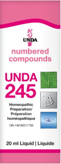 Unda 245 Uterus & Ovary Conditions It is indicated for all recurring infections of the genito-urinary system, utero-ovarian problems, irritation caused by congestion of the female reproductive organs, uterine cramps, dysmenorrhea, and leukorrhea. Unda 245 has an action on the female endocrine system and assists in the regulation of hormones.