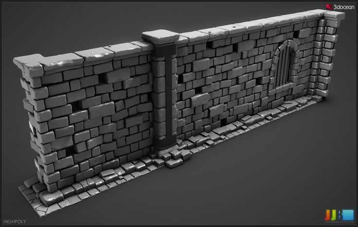 Highpoly Dungeon Wall by Jeremiah Bigley
