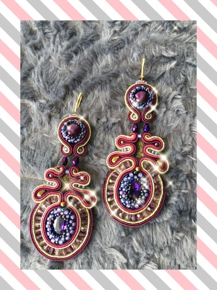 Soutache earrings rękodzieło gold, violet & burgundy