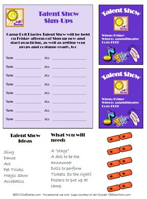 american girl printables | created a set of printables that you can use for your talent show ...