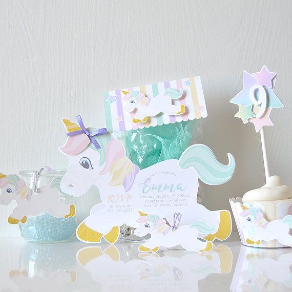 Arcobaleno unicorno inviti: neonata, compleanno, colorato, da favola, fatto a mano, bambini pastelli magici, di compleanno, le scintille-LRD049P