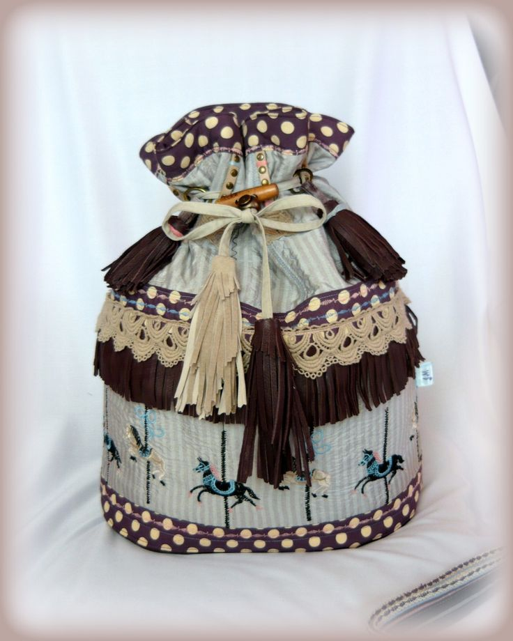 Handmade by Judy Majoros - Carousel-fringe bucket bag -backpack -crossbody bag/ 3 in 1/ leather/ Polka dots, Recycled bag.