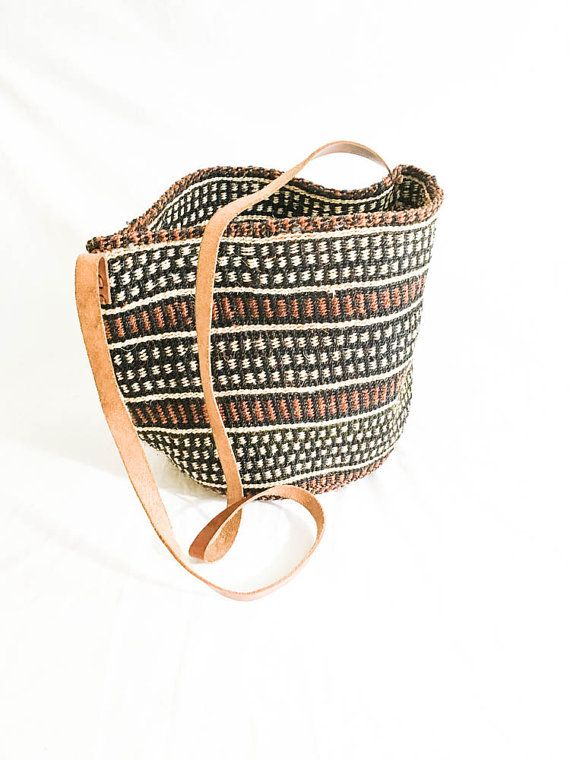 Straw market bag leather strap woven straw bag by ShoeSpectrum