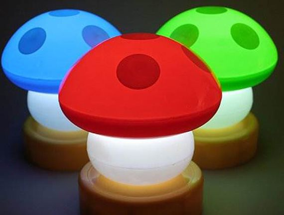 mario bros mushroom lamps in bright colors for kids bedroom design ideas