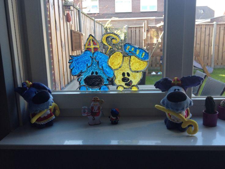 Woezel en PiP Sinterklaas raamtekening