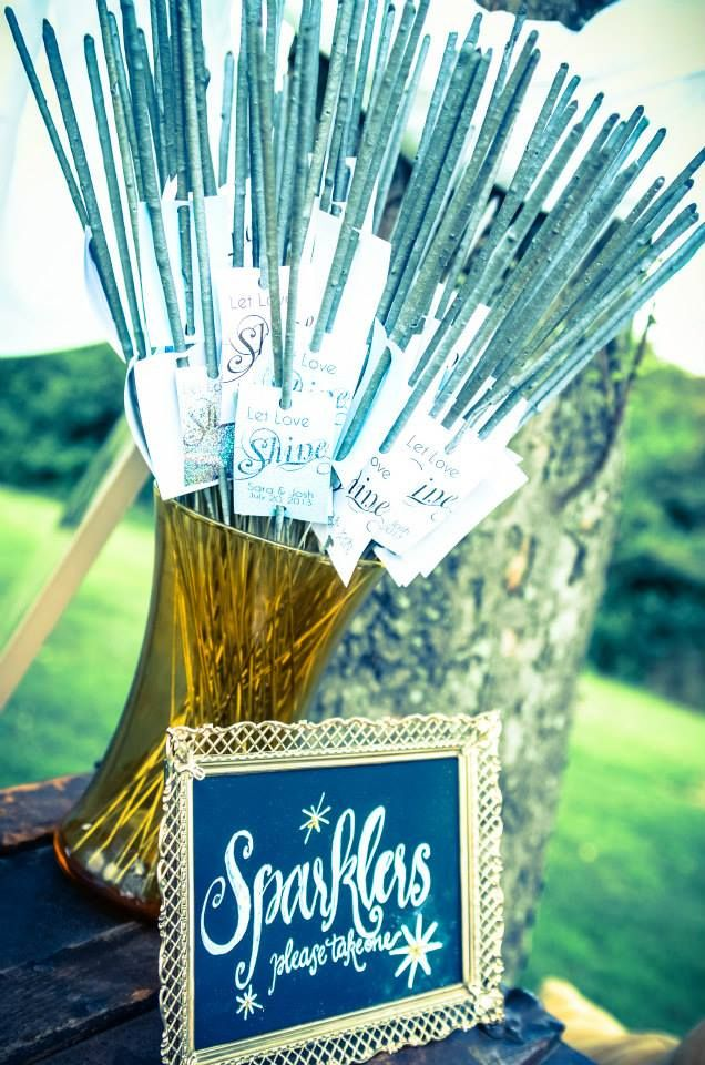 Sparklers for outdoor reception.