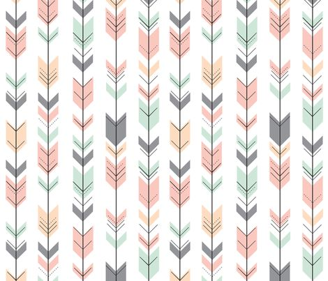 Fletching Arrows // Pink,Grey,Mint,Peach fabric by littlearrowdesign on Spoonflower - custom fabric