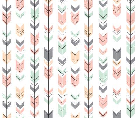 Fletching Arrows // Pink,Grey,Mint,Peach fabric by littlearrowdesign on Spoonflower - custom fabric