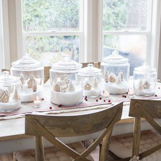 Create a Gingerbread Village that is child friendly using jars to contain the mess and beautiful little trees and figurines