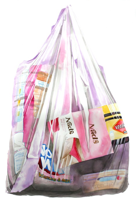 We are what we buy. This is the first of many portraits of people via their shopping bags.