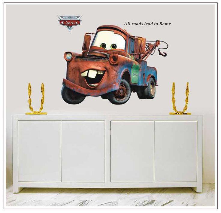 Бесплатная доставка AY9007 Новый 60x90 см Популярные Pixar Автомобилей Мультфильм мальчики декор номеров мультфильм классические автомобили Стены Наклейки