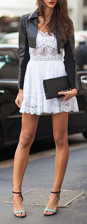 #street #fashion Leather + Lace @wachabuy