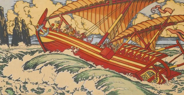 What Role Did Sailing Play in the International Trade of the Silk Road?: Sinbad the Sailor; Illustration for Arabian Fairy Tales