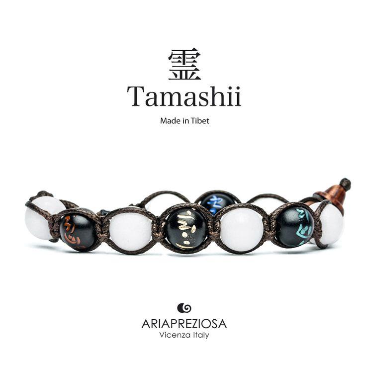 Tamashii - Bracciale originale tibetano (tg. L) realizzato con pietre naturali Agata Bianca e legno orientale autentico con SIMBOLI MANTRA incisi a mano