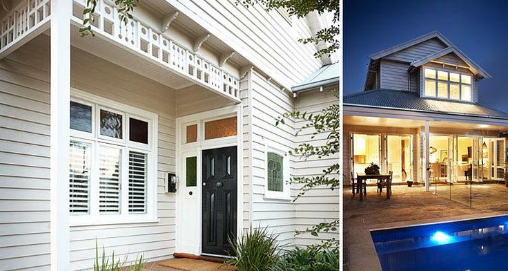 Colour of exterior ( wattyl solarguard in Birchwood) and dark door. http://www.tinalindner.com.au/projects/forster_st_renovation
