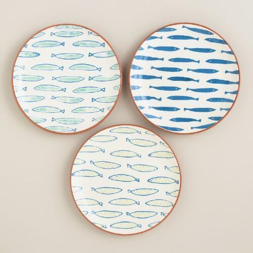 One of my favorite discoveries at WorldMarket.com: Riviera Fish Terracotta Plates, Set of 3