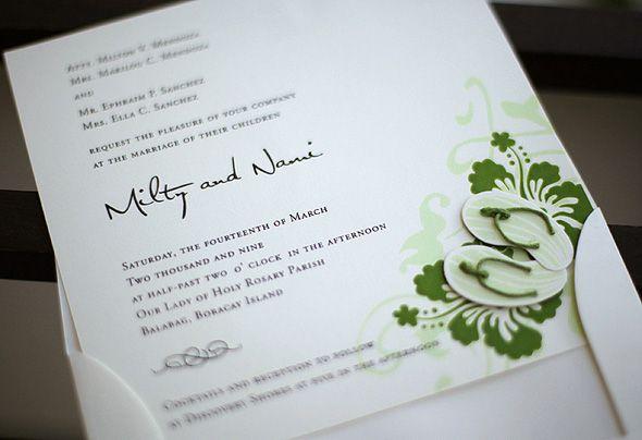 9 best wedding invitations images on pinterest bridal invitations flippin over flipflop wedding invites weddings in the philippines stopboris Images