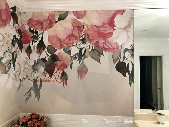 Vintage Floral Wallpaper Watercolor Wall Art Red Flower On Geometric Background Vintage Wallpaper Watercolor Mural Floral Wall Decal Flower Mural Vintage Floral Wallpapers Floral Wall Decals