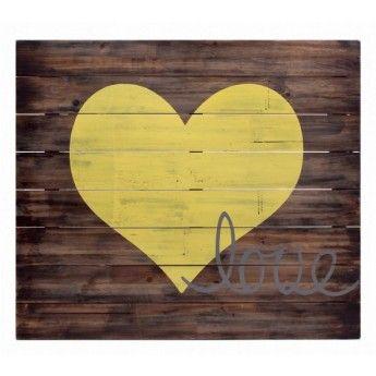 Yellow Heart Wooden Wall Art