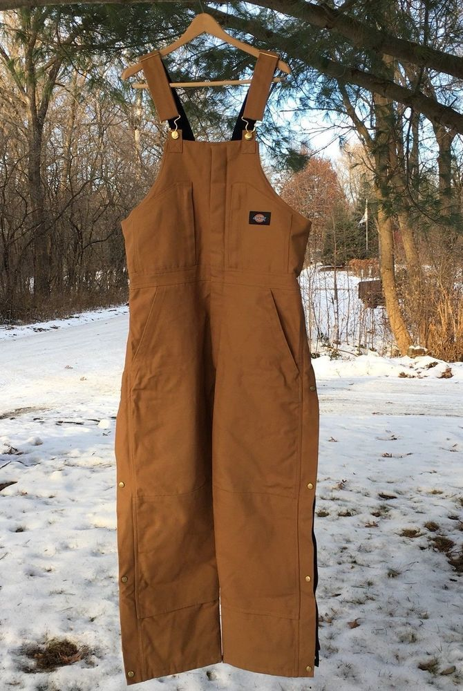 Dickies NEW Large L Mens Canvas Insulated Bib Overalls Duck Brown Arctic Shield  | eBay