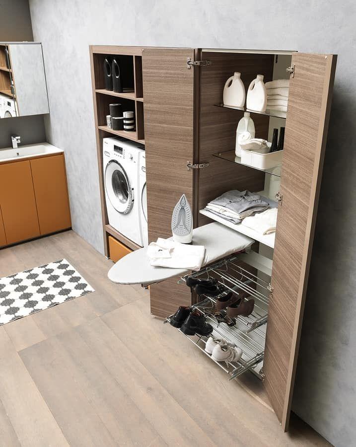 Lime Wash comp.02, Mobile per lavanderia, con asse da stiro, lavabo ...