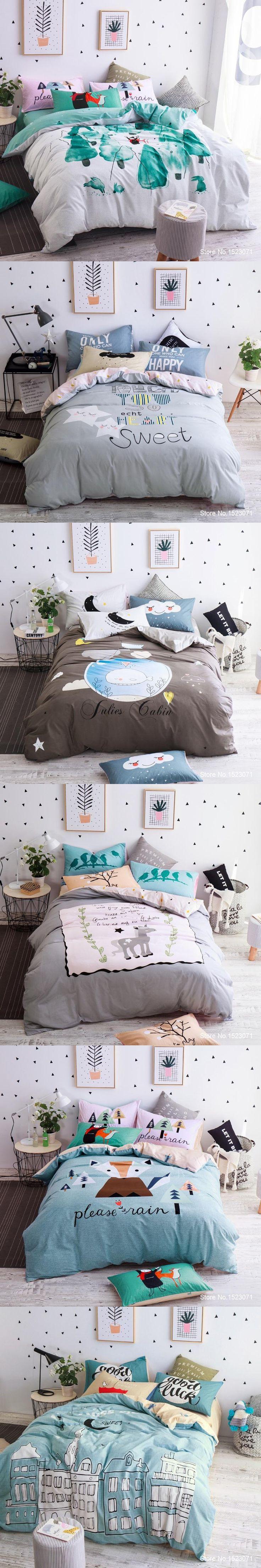 TUTUBIRD sweet stars love cartoon style boys girls bedding set cotton duvet cover sheet sets Queen Twin size children bed linens