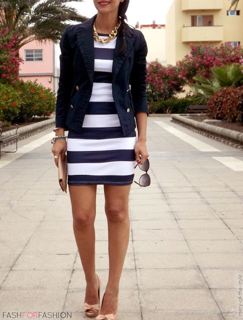 I absolutely adore this Stripped dress with a navy jacket