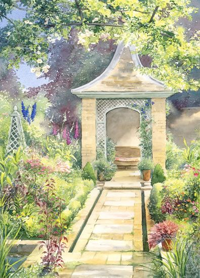 The Rill Garden - watercolour by Dorothy Pavey