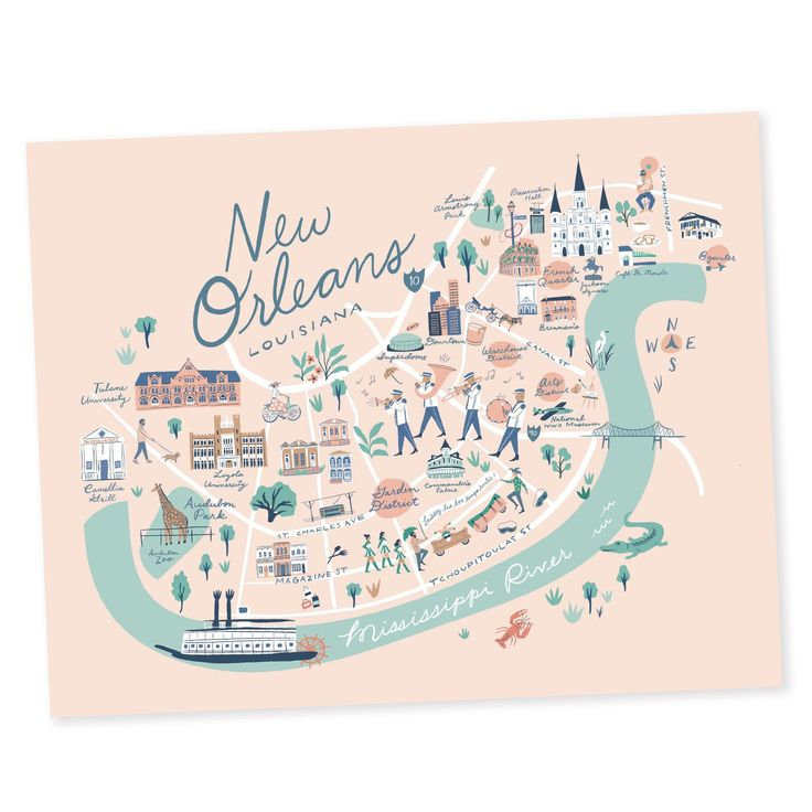 New Orleans Map Print – New Orleans, Louisiana – Jackson Square, Garden District, French Quarter, Tulane, Loyola, Audubon, Preservation Hall