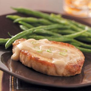 Slow Cooker Pork Chops Recipe- Recipes  Everyone will enjoy these fork-tender pork chops with a creamy, light gravy. Serve with mashed potatoes and coleslaw or a salad. —Sue Bingham, Madisonville, Tennessee