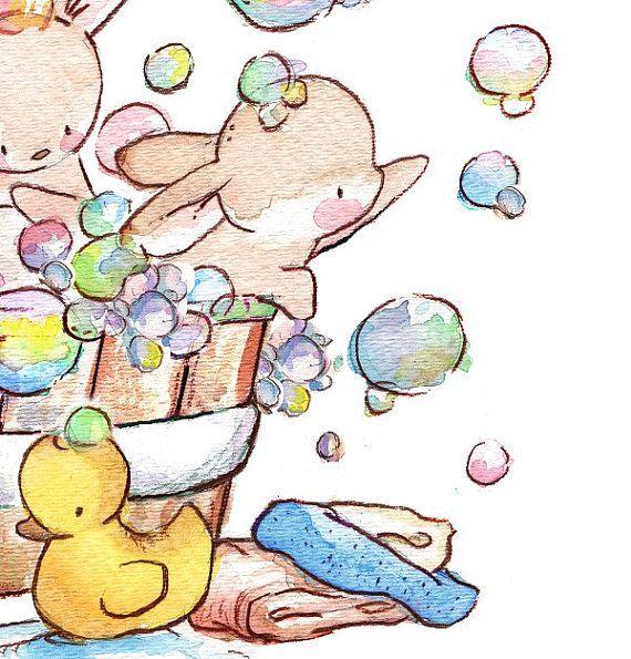 Enfants Art Print. Bain moussant de lapin. IMPRIMER 8 X 10. Pépinière Art Home Decor