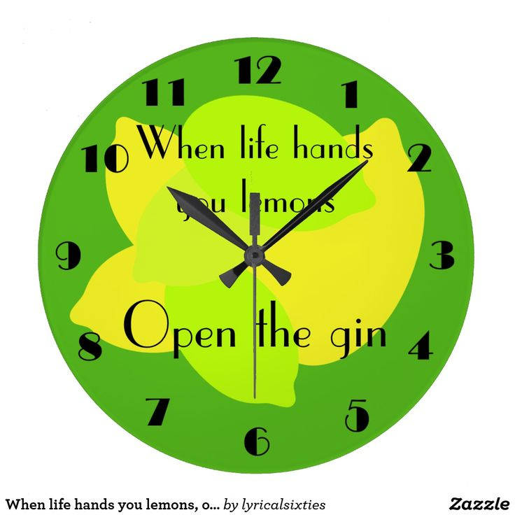 """When life hands you lemons, open the gin large clock A bright green and yellow wall clock, decorated with lemons in shades of yellow, on a green background, and the words """"When life hands you lemons, open the gin"""" written in a vintage 1030s font, with matching numbers. The words and numbers are black. It's bright, cheerful and gintastic, perfect for kitchen or bar."""