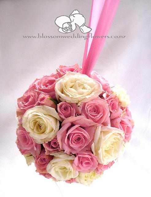 kissingball    Flower girl kissing ball of pink and white roses