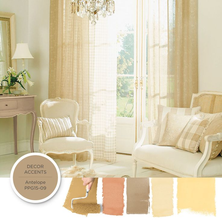 To achieve a French Country style create harmonies of faded neutrals that have a vintage, worn with the time spirit, such  as parchment white, an antiqued gold, or a sandy beige. Use hues similar to Antelope PPG15-09 as an anchor color. Get this paint color tinted in PPG Pittsburgh Paints, PPG Porter Paints & or PPG Paints products.